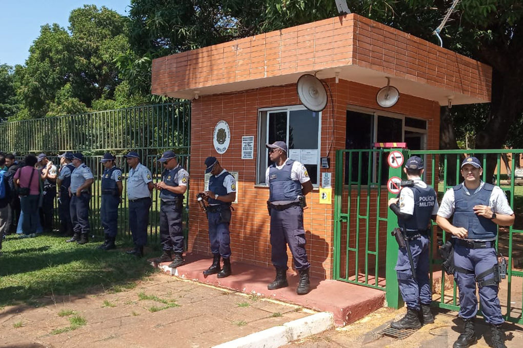 Militarized police patrols the surroundings of the Venezuelan embassy in Brasilia, Brazil, on November 13, 2019, while loyalists to President Nicolas Maduro and to Venezuelan opposition leader Juan Guaido face off inside the country's embassy. - Embassy officials opened the doors to Guaido's appointed ambassador Teresa Belandria after recognizing the opposition leader as president, the envoy said in a statement. (Photo by JORDI MIRO / AFP) (Photo by JORDI MIRO/AFP via Getty Images)
