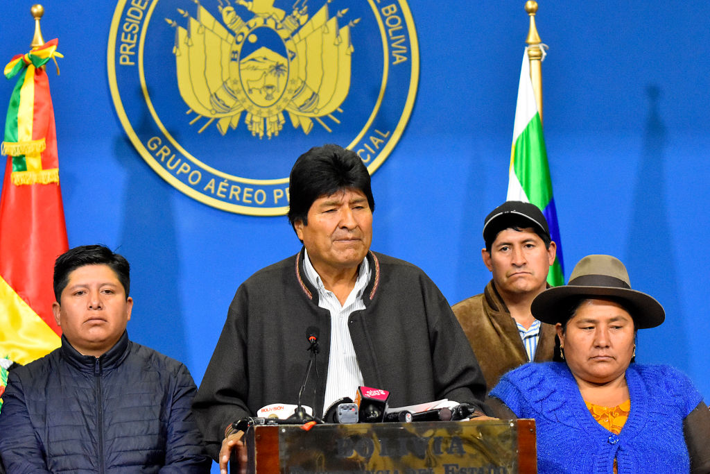 LA PAZ, BOLIVIA - NOVEMBER 10: President of Bolivia Evo Morales Ayma talks during a morning press conference when he announced he was going to call for fresh elections after OAS questioned the results of elections held on October 20th on November 10, 2019 in La Paz, Bolivia. Later today, Morales announced his resignation in Chimore, Cochabamba. (Photo by Alexis Demarco/APG/Getty Images)