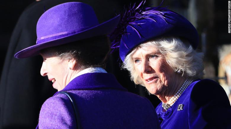 KING'S LYNN, ENGLAND - DECEMBER 25:  Princess Anne, Princess Royal and Camilla, Duchess of Cornwall attend the Christmas Day Church service at Church of St Mary Magdalene on the Sandringham estate on December 25, 2019 in King's Lynn, United Kingdom. (Photo by Stephen Pond/Getty Images)