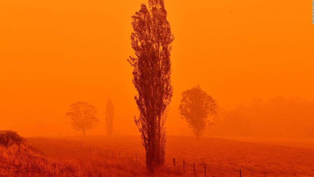 Incendios tiñen el cielo de naranja en Australia