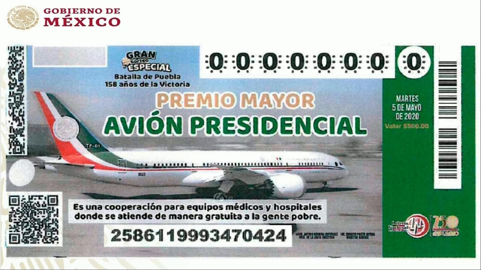 Así es el boleto para rifar el avión presidencial