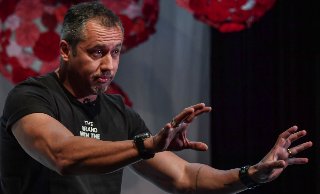"Brazilian theater director Roberto Alvim gestures during an interview with AFP in Sao Paulo, Brazil, on July 18, 2019. - Creating a ""cultural war machine"" in Brazil's performing arts is renowned theatre director Roberto Alvim's mission as he seeks to eradicate progressive ideas from the stage. (Photo by NELSON ALMEIDA / AFP) (Photo credit should read NELSON ALMEIDA/AFP via Getty Images)"