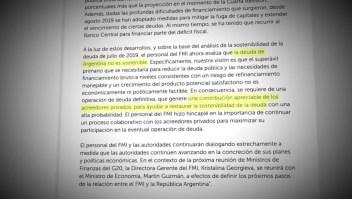 Para el FMI la deuda argentina no es sostenible