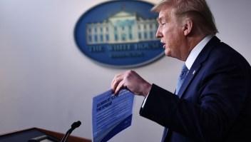 El presidente de Estados Unidos, Donald Trump, habla durante una conferencia de prensa en la Casa Blanca en Washington el 16 de marzo de 2020. Crédito: BRENDAN SMIALOWSKI / AFP a través de Getty Images