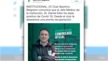 Coronavirus: primer caso confirmado en el fútbol argentino
