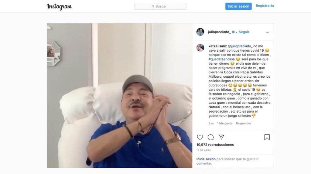 Julio Preciado tiene neumonía y se hace prueba de covid-19
