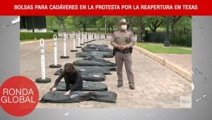 Protestan con bolsas para cadáveres y más del covid-19