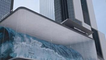 Mira esta ola 3D gigante ondular en el paisaje urbano de Seúl