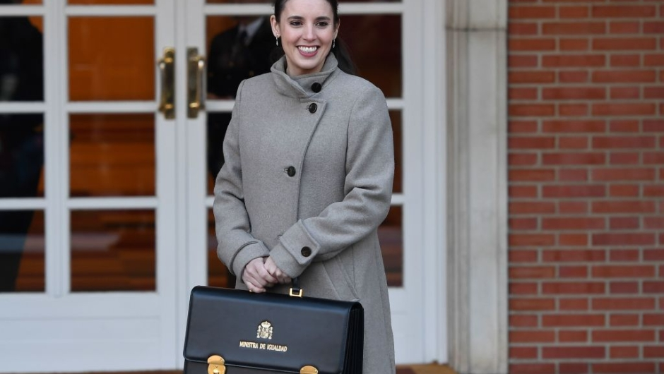 Spain's Minister for Equality Irene Montero arrives at the Moncloa Palace in Madrid on January 14, 2020 to attend the first cabinet meeting of the new coalition government. (Photo by PIERRE-PHILIPPE MARCOU / AFP) (Photo by PIERRE-PHILIPPE MARCOU/AFP via Getty Images)