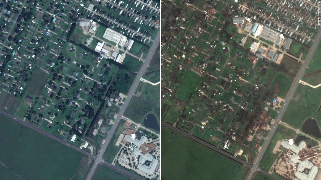 Imágenes de satélite de antes y después muestran la destrucción generalizada del huracán Laura