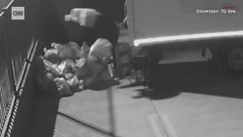 Video: un hombre tira bolsas de correo del Servicio Postal