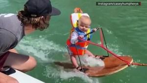 Video viral de bebé practicando esquí desata controversia