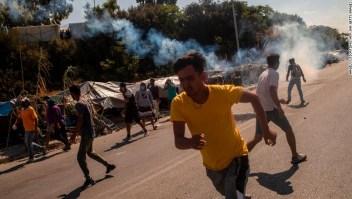Violentas protestas de migrantes en la isla de Lesbos
