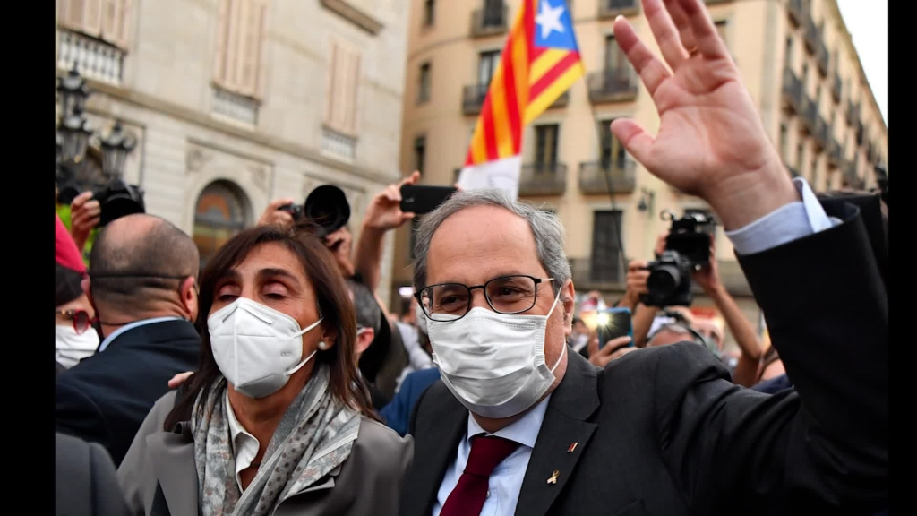 Protestan en Cataluña tras la condena de Quim Torra