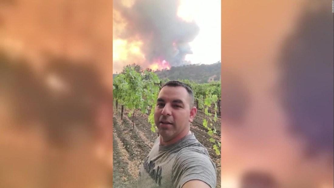 Grabó los enormes incendios acechando su viñedo