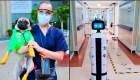 Terapia para afectados por covid-19 con un perro y un robot