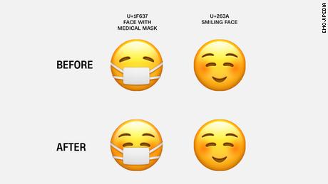 Un emoji alegre con tapabocas