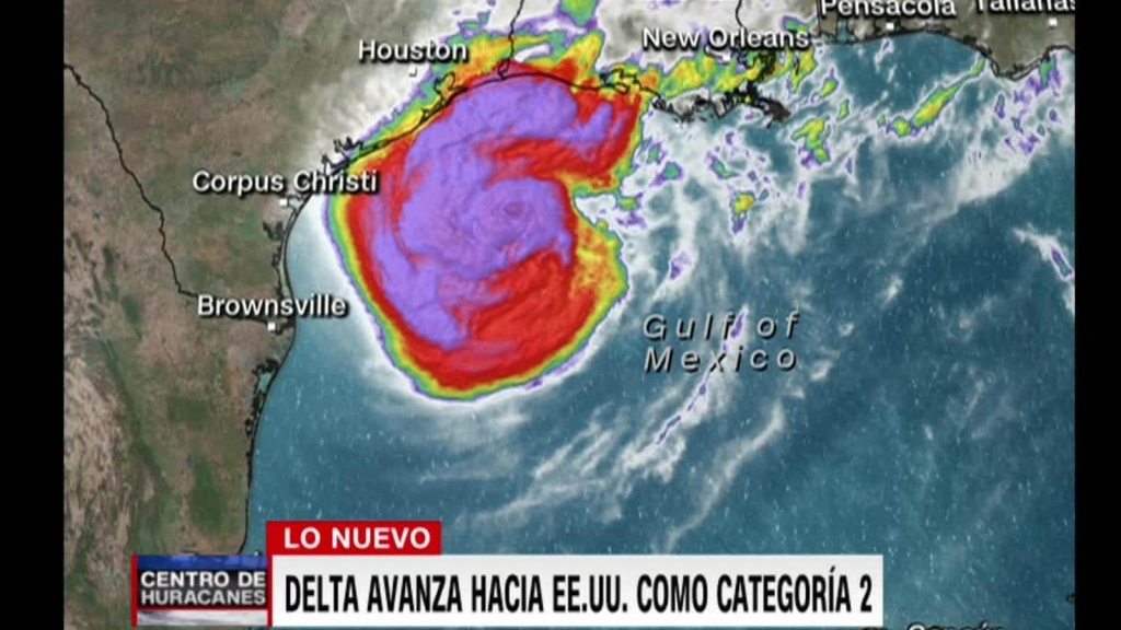 Huracán Delta se degrada a categoría 2 en camino a EE.UU.
