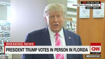 Esto fue lo que dijo Donald Trump del voto por correo tras votar en persona en Florida