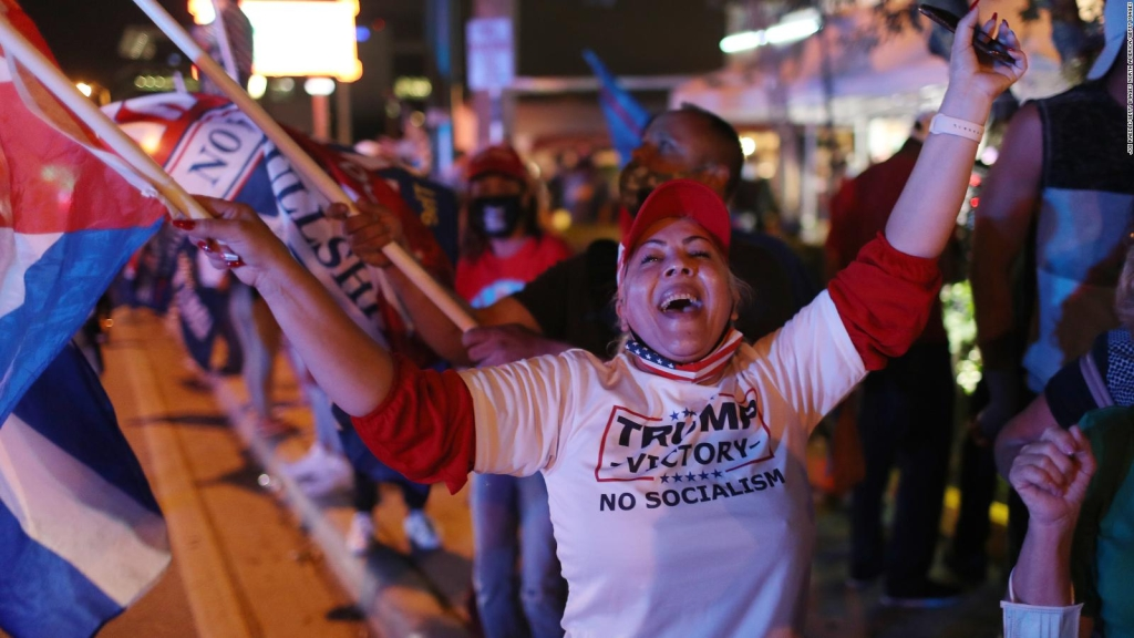 Cubanos celebran resultados de Trump en Miami-Dade