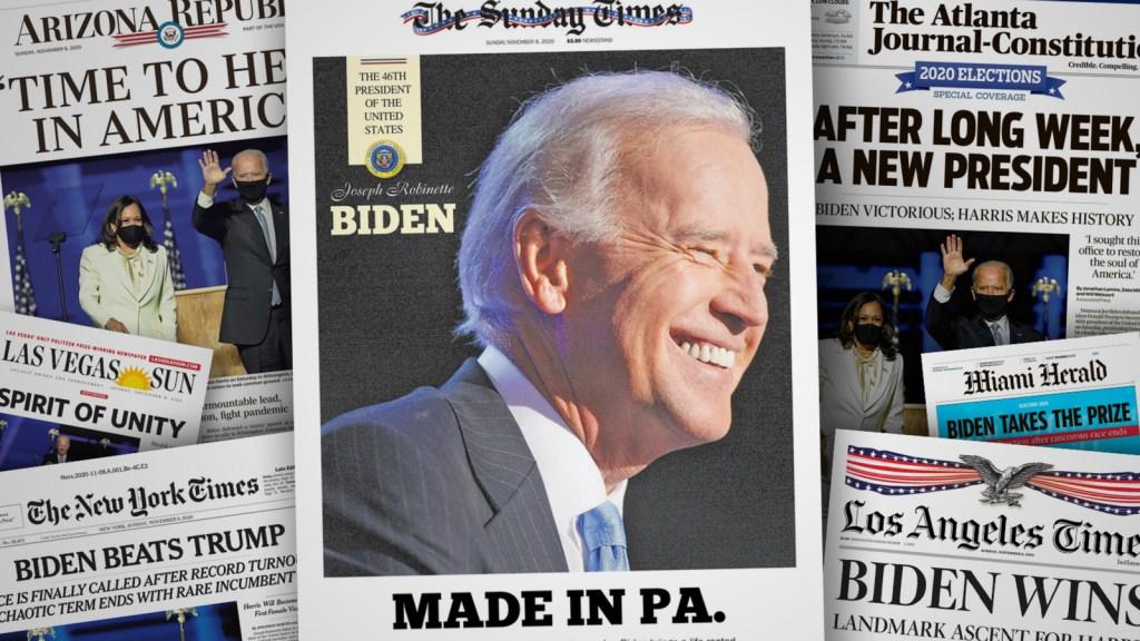 Las portadas de diarios en Estados Unidos se hacen eco de la victoria de Joe Biden