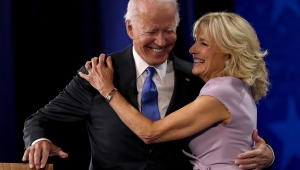 WILMINGTON, DELAWARE - AUGUST 20: : Democratic presidential nominee Joe Biden greets his wife Dr. Jill Biden on the fourth night of the Democratic National Convention from the Chase Center on August 20, 2020 in Wilmington, Delaware. The convention, which was once expected to draw 50,000 people to Milwaukee, Wisconsin, is now taking place virtually due to the coronavirus pandemic. (Photo by Win McNamee/Getty Images)