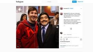 Messi despide a Maradona en redes sociales