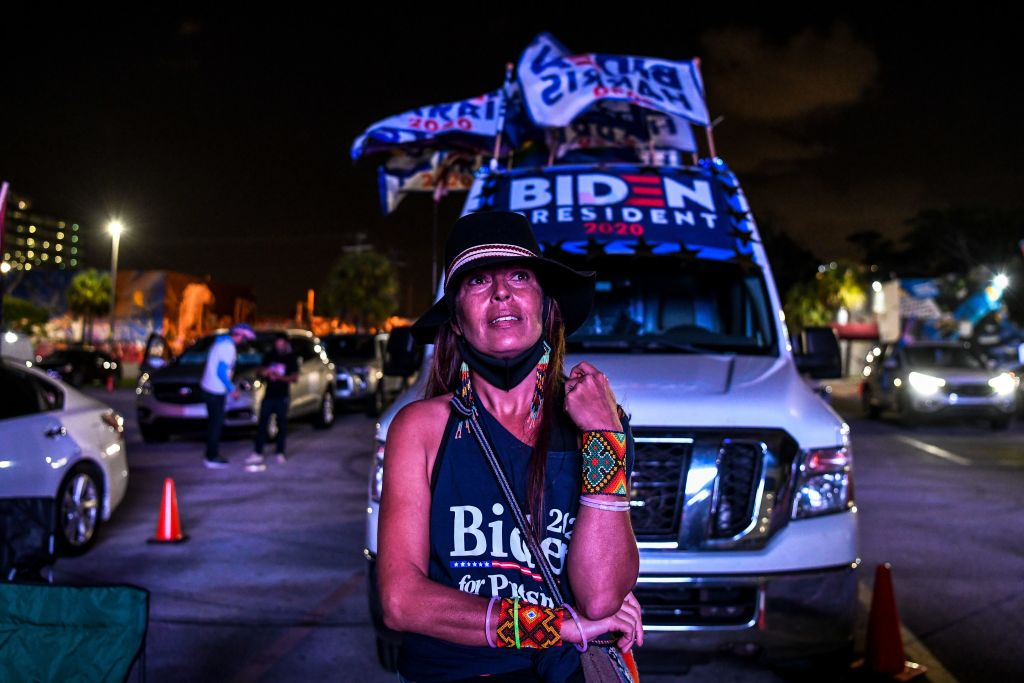 TOPSHOT - Supporters of the Democratic party react as they attend a watch party in Miami, Florida on November 3, 2020. - The US is voting Tuesday in an election amounting to a referendum on Donald Trump's uniquely brash and bruising presidency, which Democratic opponent and frontrunner Joe Biden urged Americans to end to restore
