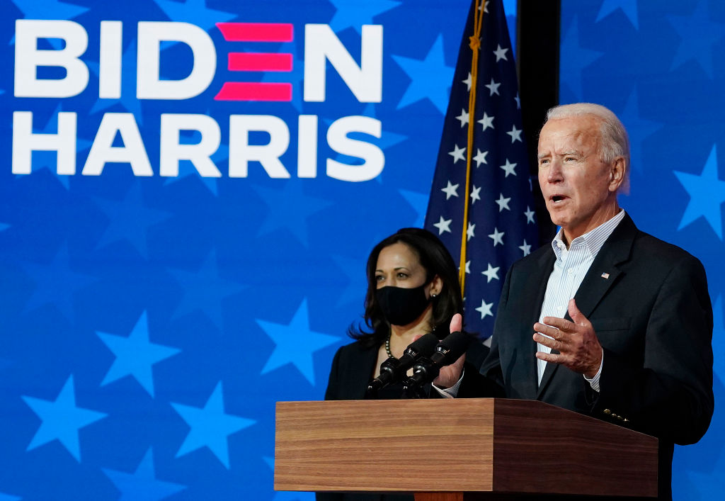 WILMINGTON, DELAWARE - NOVEMBER 05: Democratic presidential nominee Joe Biden speaks while flanked by vice presidential nominee, Sen. Kamala Harris (D-CA), at The Queen theater on November 05, 2020 in Wilmington, Delaware. Biden attended internal meetings with staff as votes are still being counted in his tight race against incumbent U.S. President Donald Trump, which remains too close to call. (Photo by Drew Angerer/Getty Images)