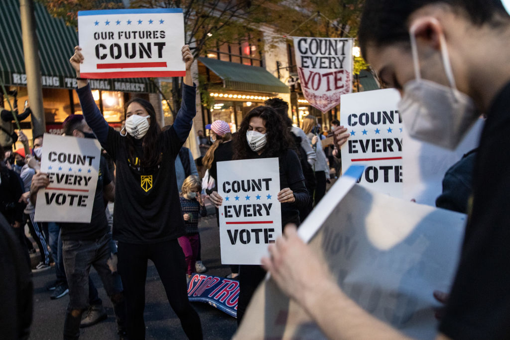 PHILADELPHIA, PENNSYLVANIA - NOVEMBER 05: People dance and hold signs during a protest in support of counting all votes as the election in in the state is still unresolved on November 5, 2020 in Philadelphia, Pennsylvania. With no winner yet declared in the presidential election, all eyes are on the outcome of a few remaining swing states. (Photo by Chris McGrath/Getty Images)