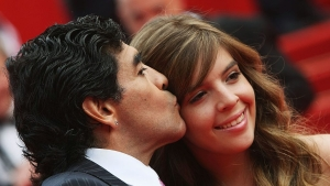 CANNES, FRANCE - MAY 21: Football legend Diego Armando Maradona and daughter Dalma arrive at the 'Che' Premiere at the Palais des Festivals during the 61st International Cannes Film Festival on May 21, 2008 in Cannes, France. (Photo by Sean Gallup/Getty Images)
