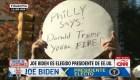 En las calles de Filadelfia celebran victoria de Biden