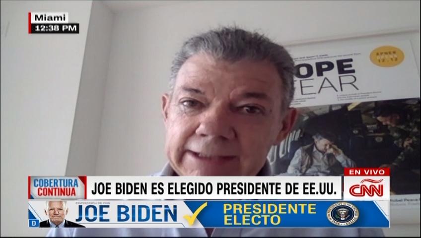 """Santos dice que triunfo de Biden """"es bueno para Colombia"""""""