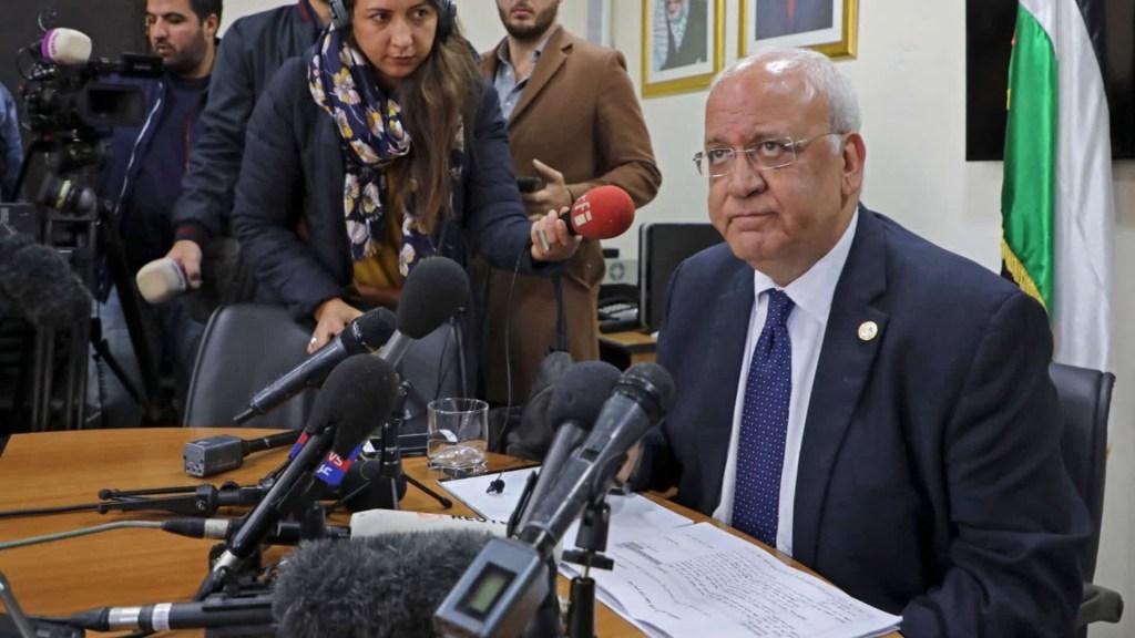 Palestinos lamentan la muerte Saeb Erekat