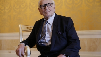 """French designer Pierre Cardin poses before a press conference to present the musical """"Dorian Gray"""" that will be shown at """"La Fenice"""" theatre in Venice, on June 3, 2016. The show will be played on August 6 and 7, 2016 in the famous Venetian opera with singer Matteo Setti in the title role. (Photo by MARCO BERTORELLO / AFP) (Photo by MARCO BERTORELLO/AFP via Getty Images)"""