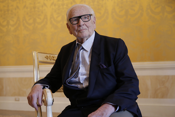 "French designer Pierre Cardin poses before a press conference to present the musical ""Dorian Gray"" that will be shown at ""La Fenice"" theatre in Venice, on June 3, 2016. The show will be played on August 6 and 7, 2016 in the famous Venetian opera with singer Matteo Setti in the title role. (Photo by MARCO BERTORELLO / AFP) (Photo by MARCO BERTORELLO/AFP via Getty Images)"