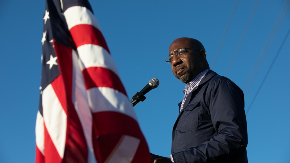 MARIETTA, GA - NOVEMBER 15: Democratic U.S. Senate candidate Raphael Warnock of Georgia speaks to supporters during a rally on November 15, 2020 in Marietta, Georgia. Warnock faces incumbent U.S. Sen. Kelly Loeffler (R-GA) in one of two January 5 runoffs for the U.S. Senate in Georgia. (Photo by Jessica McGowan/Getty Images)