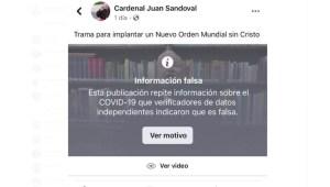 Facebook tilda de información falsa video de cardenal mexicano