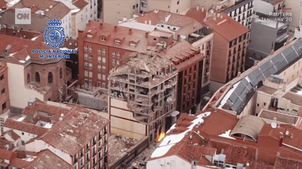 Imágenes aéreas de la zona de la explosión en Madrid