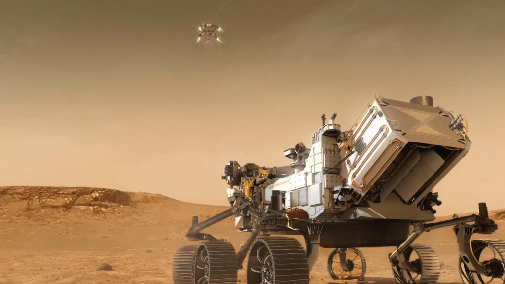How will the Perseverance spacecraft land on Mars?