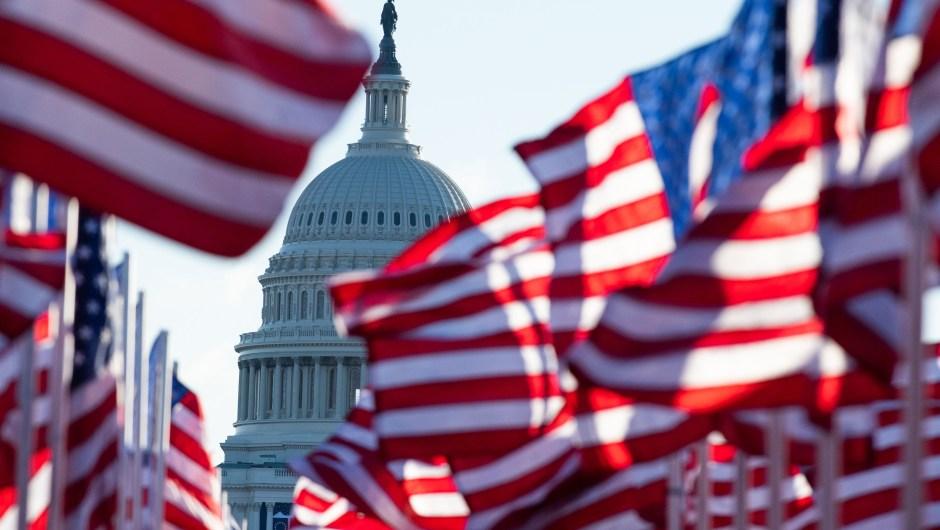 Banderas de EE.UU. en representación de quienes no pudieron asistir a la toma de posesión debido al covid-19 en el Mall. Crédito: ROBERTO SCHMIDT/Getty Images.