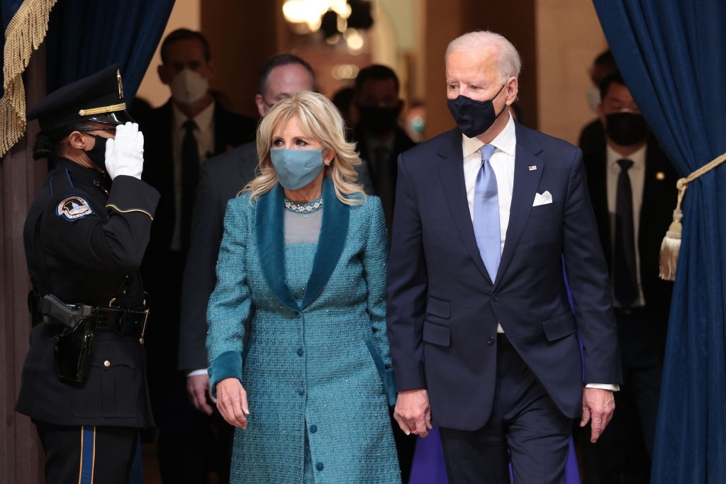 WASHINGTON, DC - JANUARY 20: U.S. President Joe Biden and First Lady Dr. Jill Biden attend the presentation of gifts ceremony in the Capitol Rotunda after Biden's inauguration on the West Front of the U.S. Capitol on January 20, 2021 in Washington, DC. During today's inauguration ceremony Joe Biden becomes the 46th president of the United States. (Photo by Win McNamee/Getty Images)