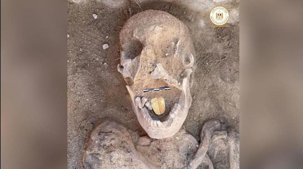 Descubren momias con lenguas de oro
