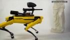 A remote-controlled robot dog destroys works of art