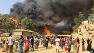 Un incendio arrasó un campo de refugiados en Bangladesh