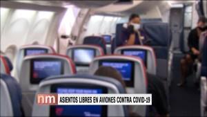 Asientos libres en aviones reducen contagios de covid-19
