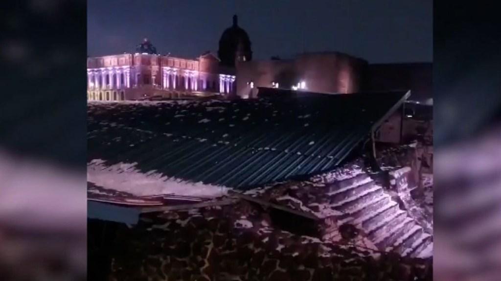 Granizada colapsa cubierta del Templo Mayor de México