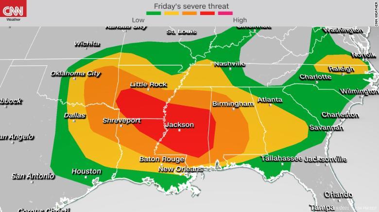 tormentas-pronóstico-ee.uu.-viernes