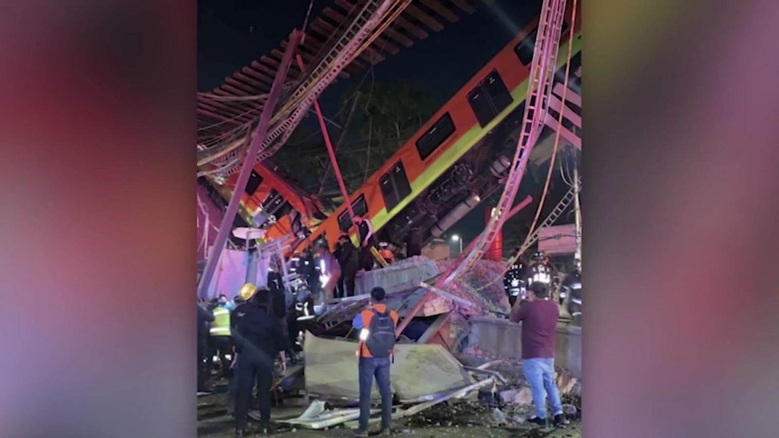 Así quedó el tramo caído del metro en Ciudad de México