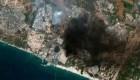 Satélite capta la destrucción en Israel y Gaza